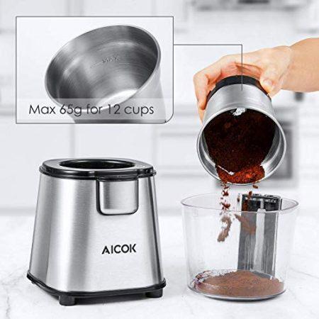 VCKHRRY Molinillo de caf/é el/éctrico Molinillo de caf/é multifuncional 400W Molinillo de especias Recipiente extra/íble con cuchillas de acero inoxidable F/ácil de usar y limpiar Semillas